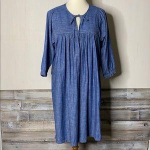 ALTERNATIVE L Chambray Lagenlook Midi Dress